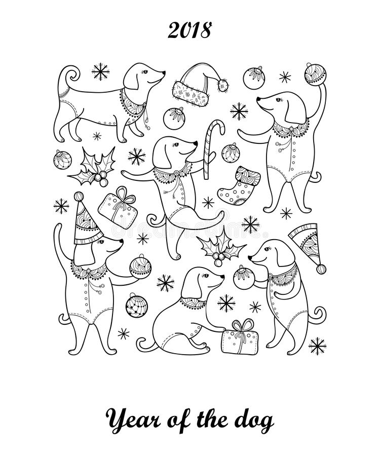 Coloring Pages Year Of The Dog : Vector greeting with outline happy dog in black isolated