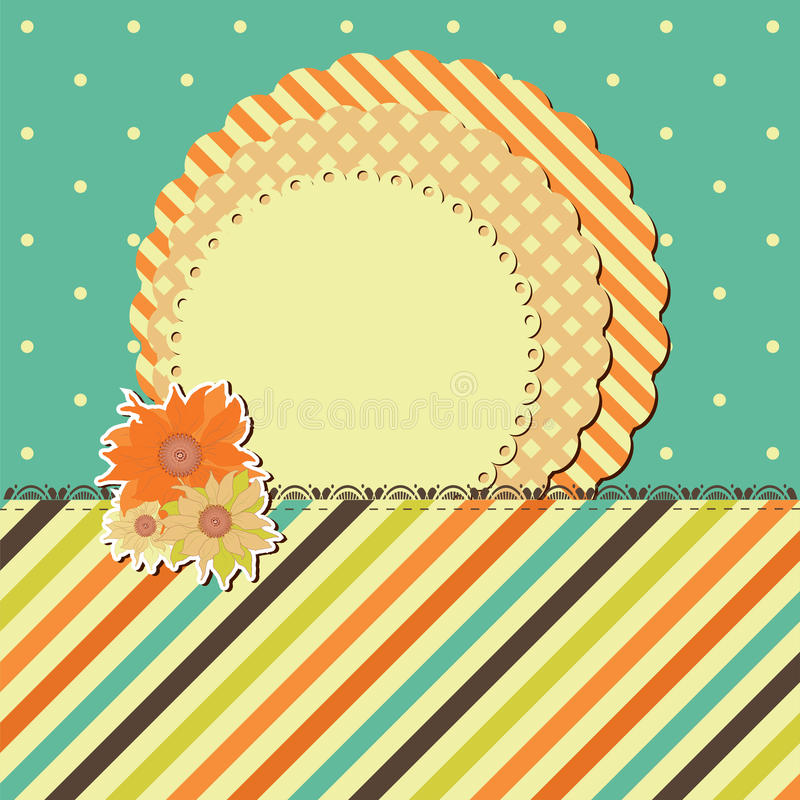 Download Vector Greeting Retro Card With Frame And Flower Stock Vector - Image: 21584998