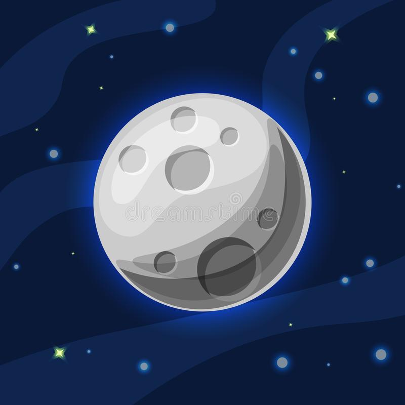 Vector grey and blue moon in deep dark blue space with cartoon glow. Flat modern style. Moon in space, vector stock illustration