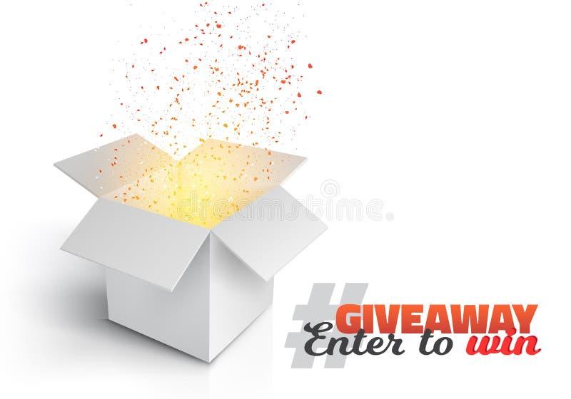 Vector Grey Box Giveaway Competition Template stock de ilustración