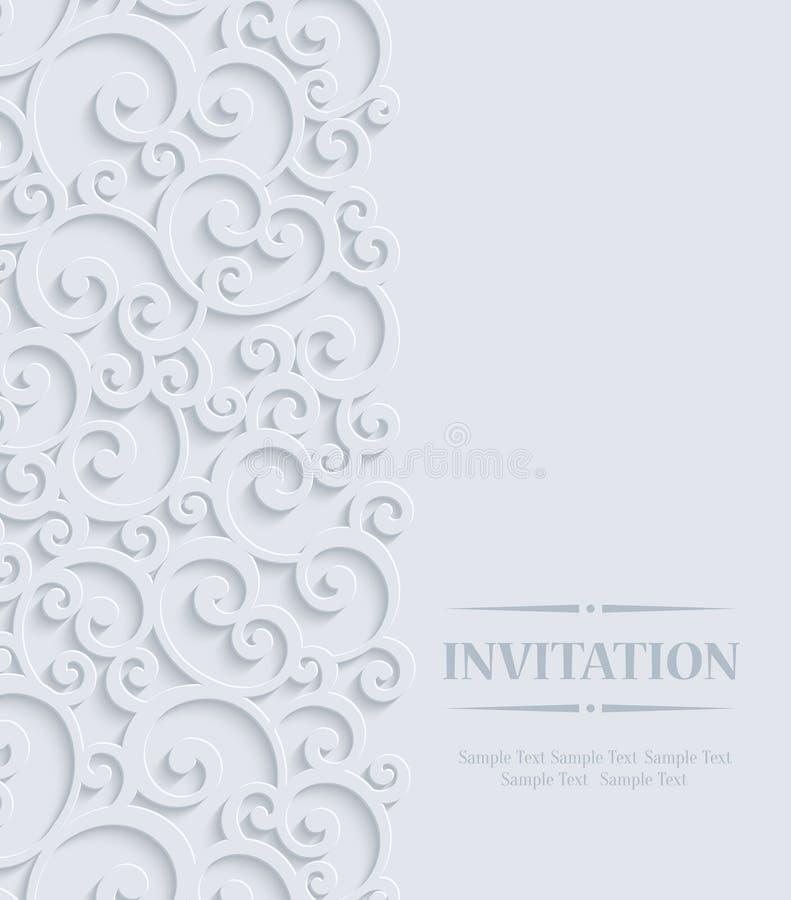 Vector Grey 3d Vintage Invitation Card with Floral Damask Pattern stock illustration