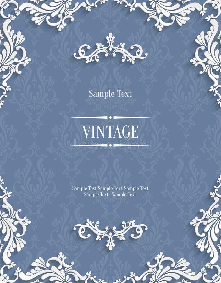 Vector Grey 3d Vintage Invitation Card with Floral Damask Pattern royalty free illustration