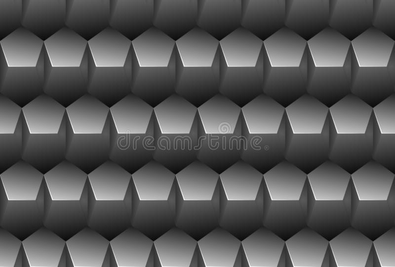 Vector grey embossed pattern plastic pentagon grid seamless background. Endless metal texture. Web page fill dark geometric. Pattern royalty free illustration