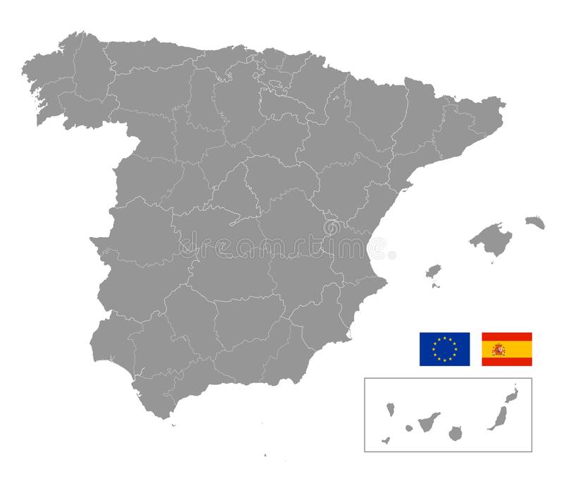 Vector grey map of spain. With Administrative borders stock illustration