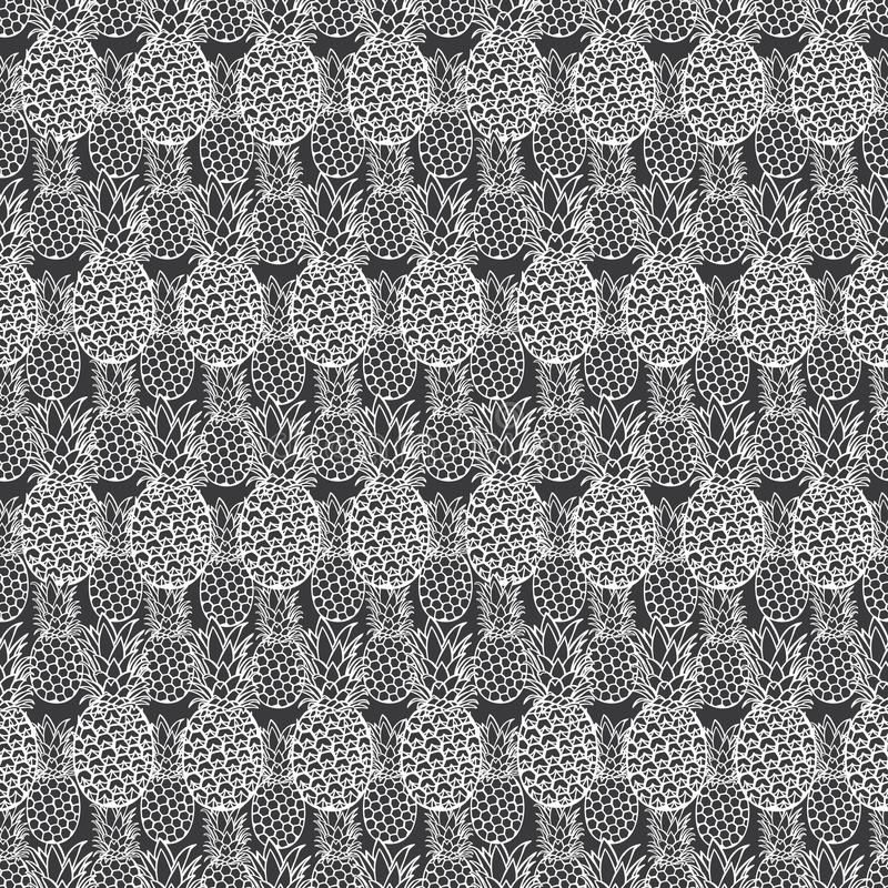 Vector grey pineapple texture repeat pattern. Suitable for gift wrap, textile and wallpaper royalty free illustration