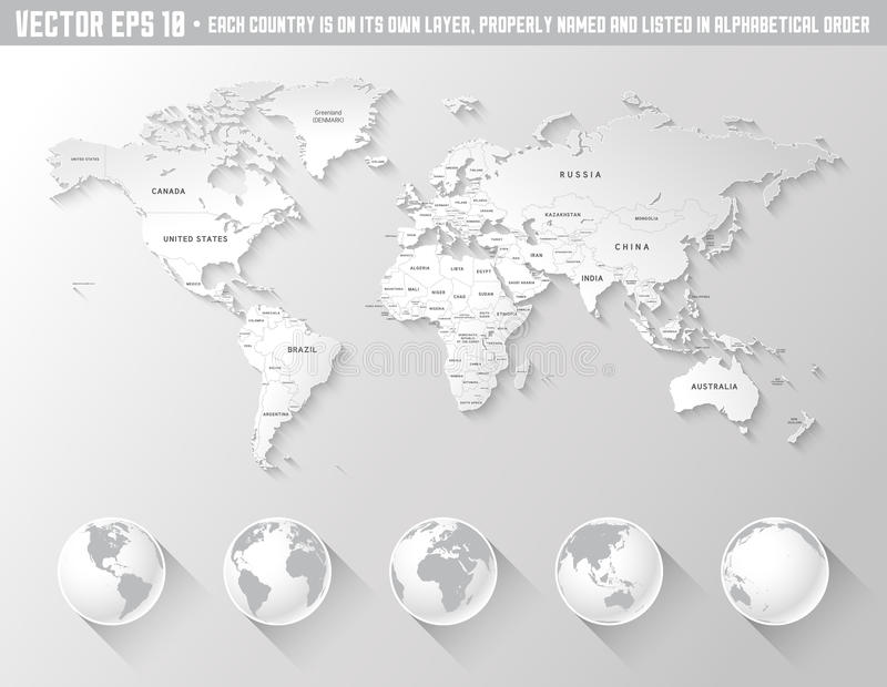 Vector grey shaded world map stock vector illustration of circle vector grey world map with country names and a beautiful shadow effect with the addition of five globes of the earth with different rotations gumiabroncs Images