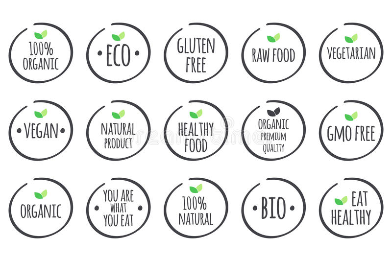 Vector grey symbols with green leaves on white. Healthy Food logos. royalty free illustration