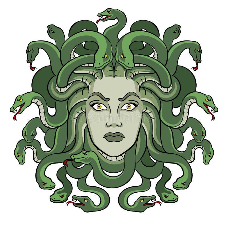 Vector griego del arte pop de la criatura del mito de la medusa stock de ilustración