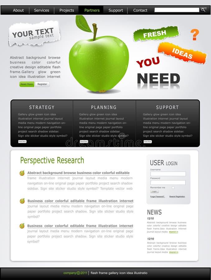 Vector grijs-Groene website met appel royalty-vrije illustratie