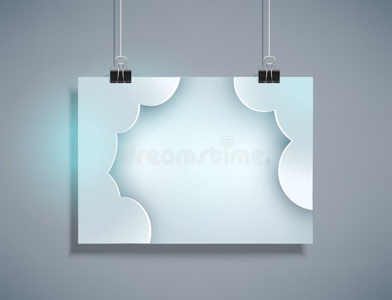 Vector grijs malplaatje voor ontwerp het hangen op de horizontale muur ( vector illustratie