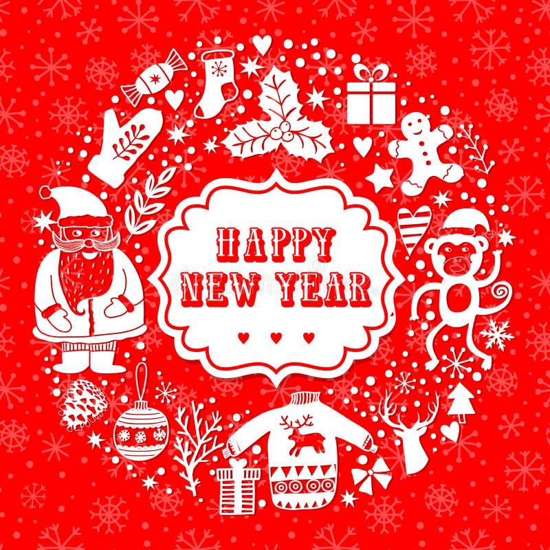 Vector a grinalda circular, molde do cartão do Natal, Feliz Natal Projeto do feriado de inverno, projeto da grinalda do quadro fe ilustração royalty free
