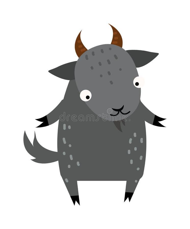 Vector gris del animal del campo del mamífero de la cabra de la historieta linda libre illustration