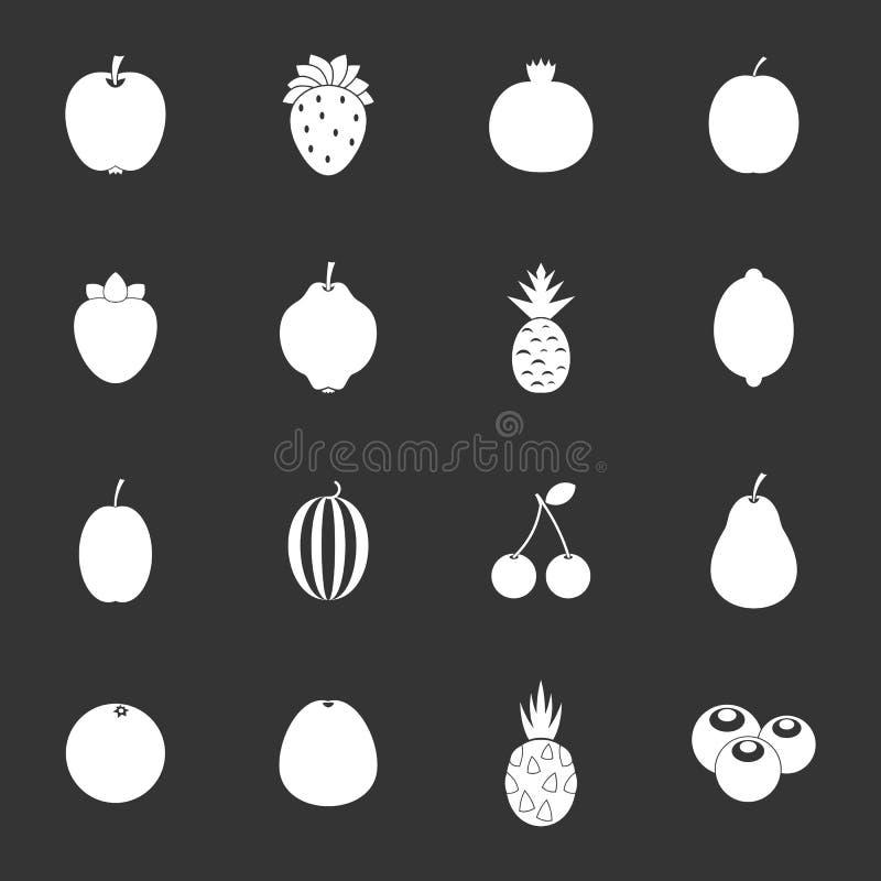 Vector gris fijado iconos de la fruta ilustración del vector