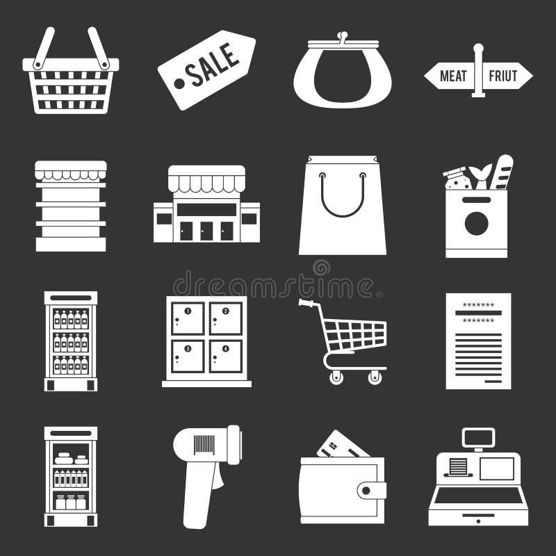 Vector gris fijado iconos del supermercado stock de ilustración