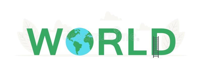 Vector große Wort Welt und Erde, Planetenfahne für Konzept des Entwurfes Illustration für Darstellungen auf weißem Hintergrund vektor abbildung