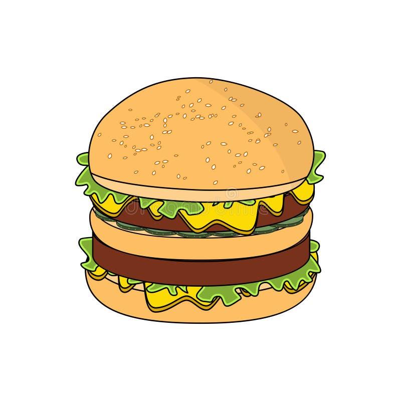 Vector großen frischen geschmackvollen Burger in der Karikaturart Lokalisiert auf weißem Hintergrundhamburger vektor abbildung