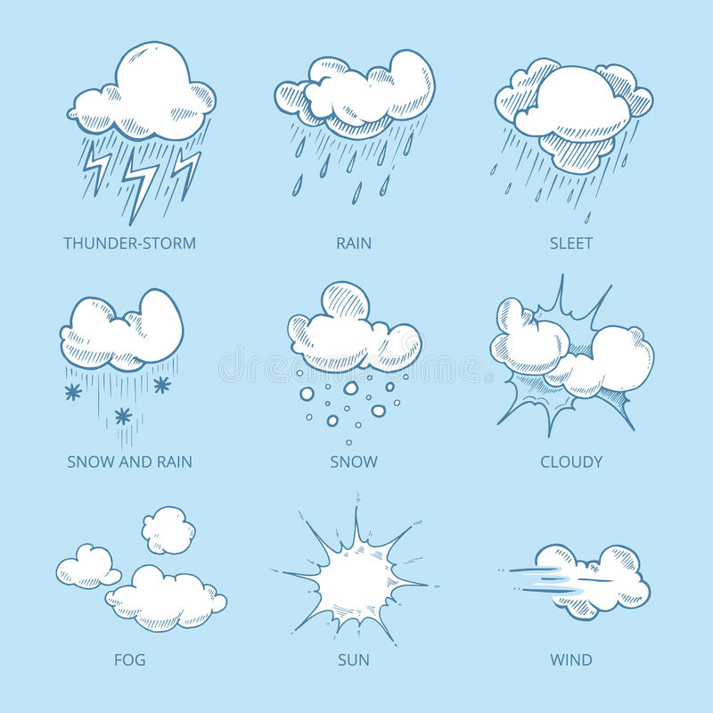 Vector großen Satz des Gekritzels Hand gezeichnete Wolken stock abbildung