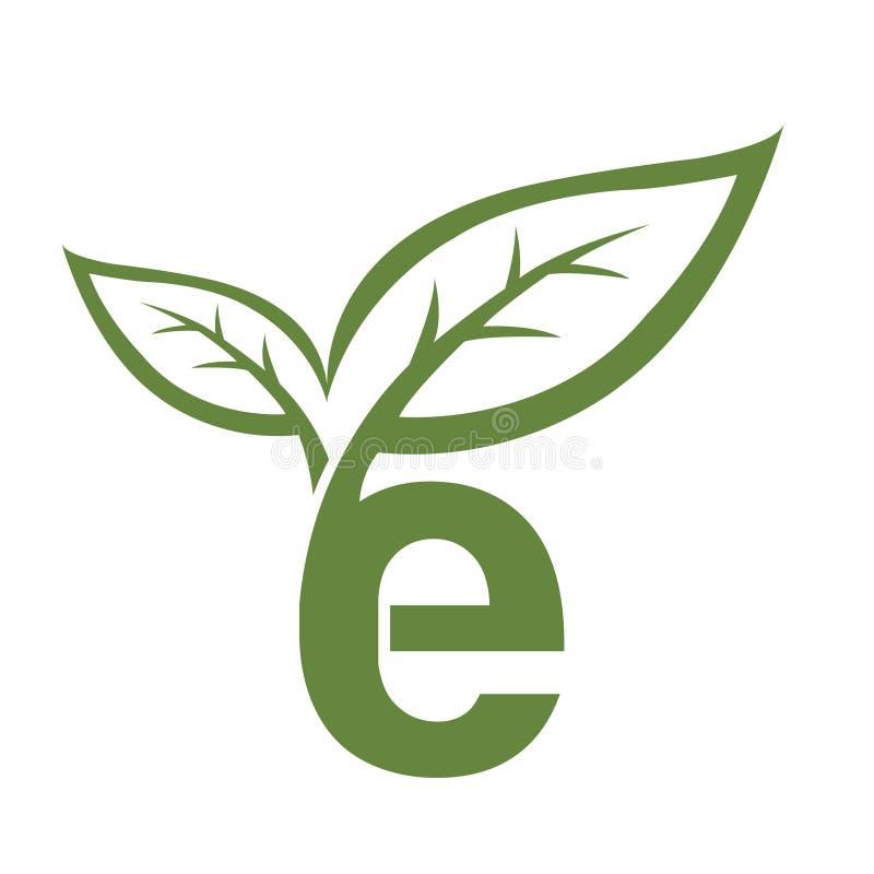 Vector Groen Aanvankelijk e-Embleem stock afbeelding