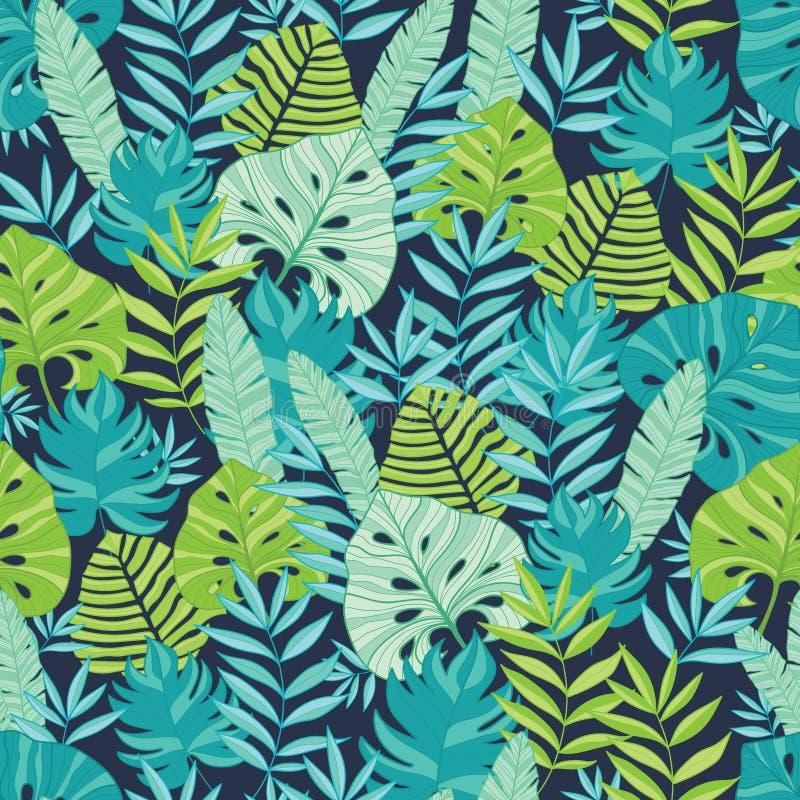 Vector groen en marineblauw verspreid tropisch de zomer Hawaiiaans naadloos patroon royalty-vrije illustratie