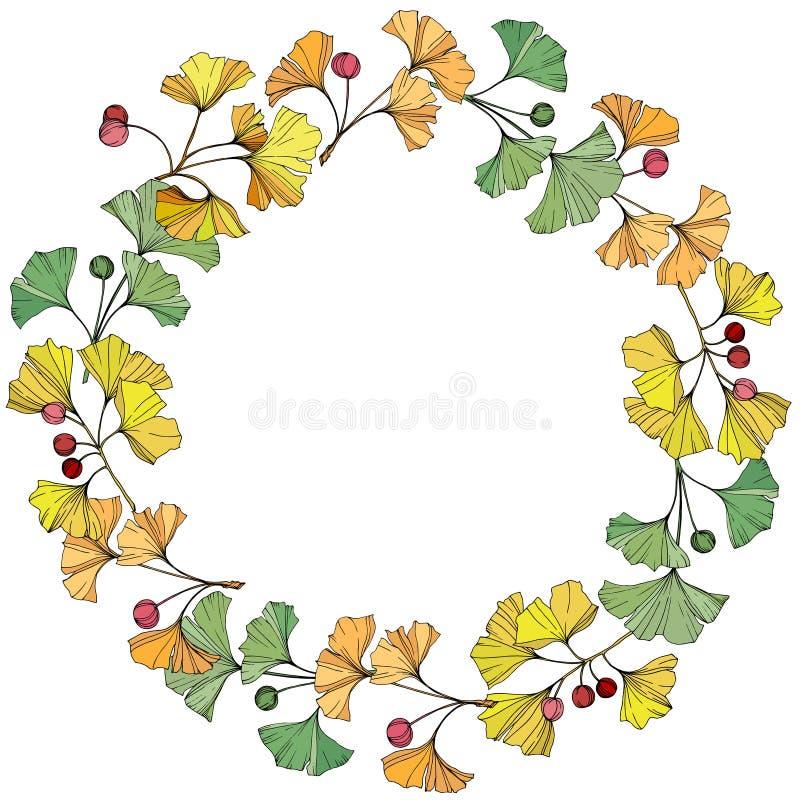 Vector Groen, geel en oranje ginkgoblad Botanisch de tuin bloemengebladerte van de bladinstallatie Kaderkroon stock illustratie