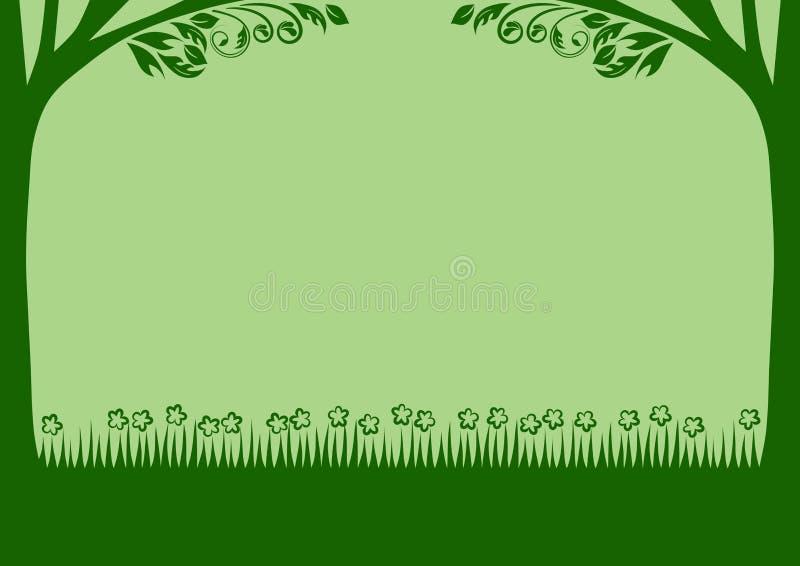 Vector groen gras en de boom stock illustratie