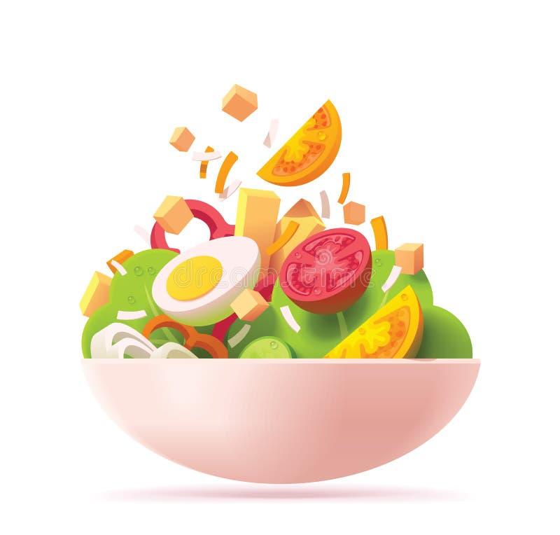 Vector groen saladepictogram vector illustratie