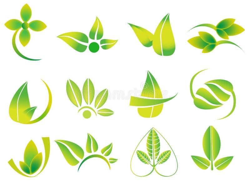 Vector groene bladeren, flowesr, ecologiepictogram logotypes, gezondheid, milieu, aard verwante emblemen royalty-vrije illustratie