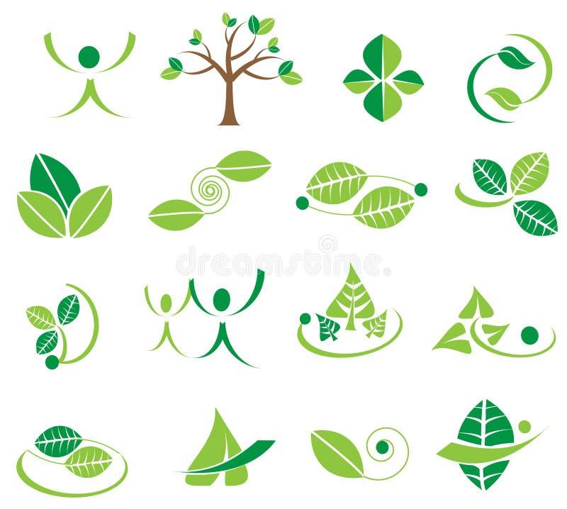 Vector groene bladeren logotype pictogrammen, ecologieontwerpen royalty-vrije illustratie
