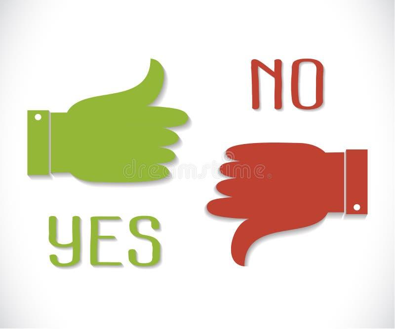 Vector groene duim op pictogram en rode duim neer met schaduw stock fotografie