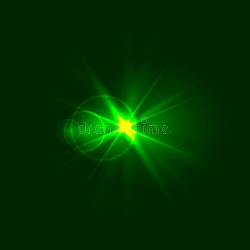 Vector Groene Fonkeling, Energieconcept, Glanzende Illustratie royalty-vrije illustratie