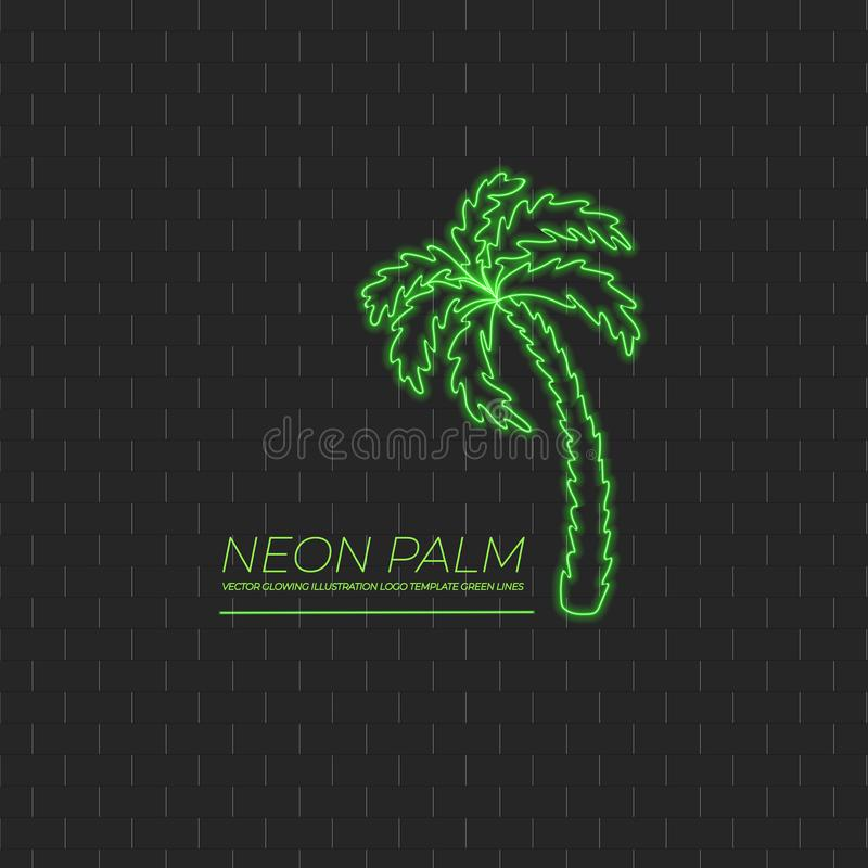 Vector Groene Palm, Neonteken, Strandsymbool, Logo Illustration stock illustratie