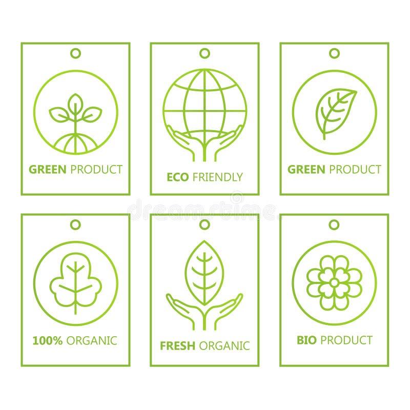 Vector groene reeks etiketten in lineaire stijl voor biologische producten, voedsel en schoonheidsmiddelen royalty-vrije illustratie