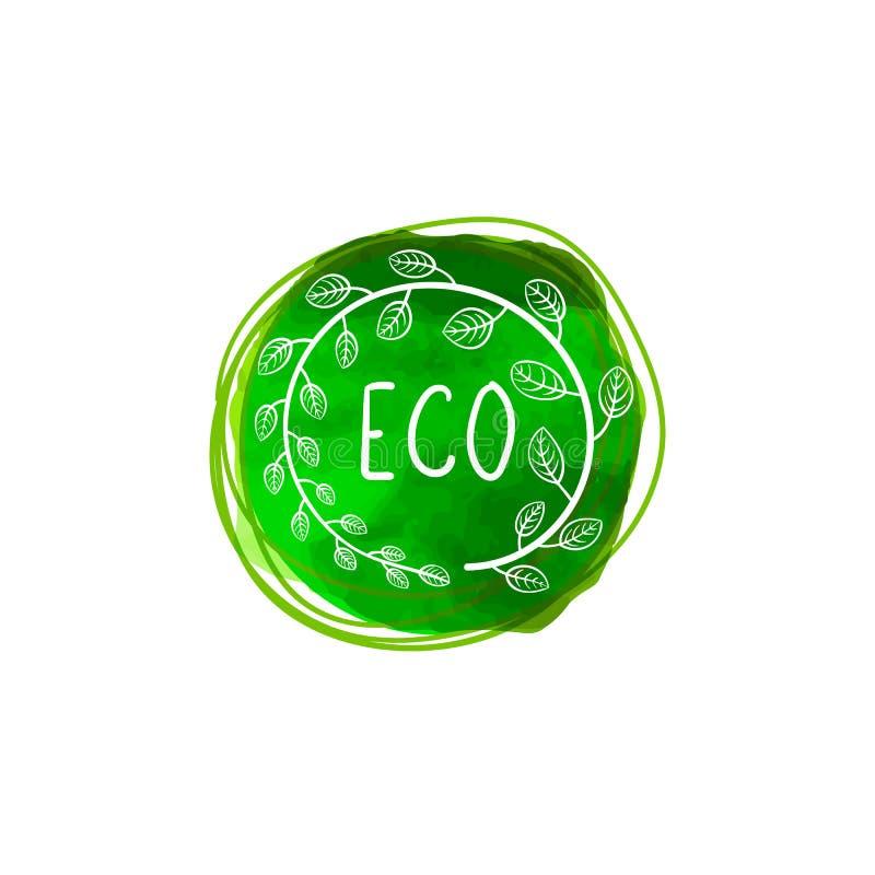 Vector Groene Waterverfvlek met Bladerenkader en Inschrijving ECO, het Embleem van het Ecologieproduct royalty-vrije illustratie