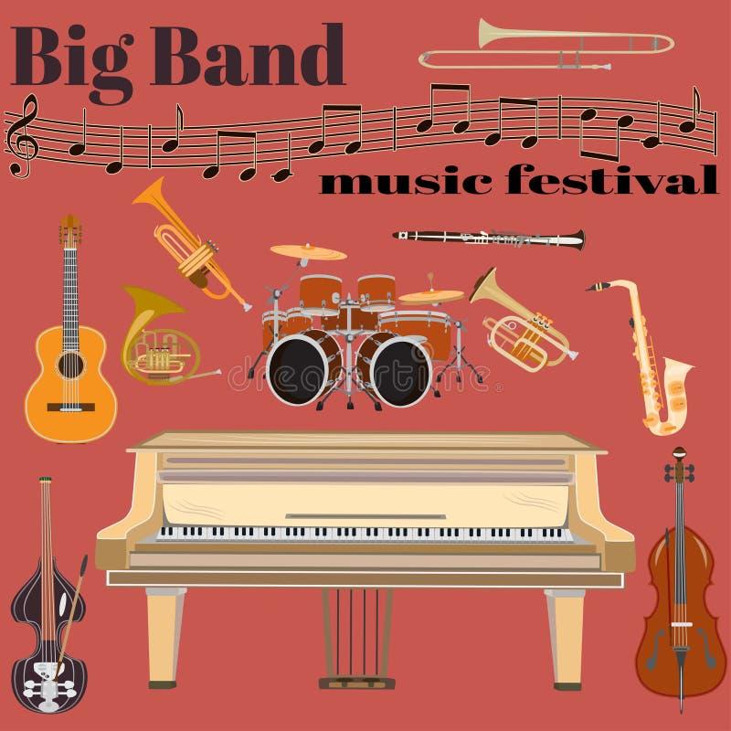 Vector Groot het festivalmalplaatje van de bandmuziek in vlakke stijl royalty-vrije illustratie