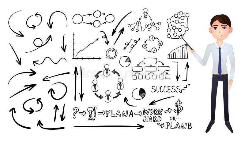 Vector Grote Inzameling van Bedrijfshand Getrokken die Krabbelelementen op Witte Achtergrond, Zwarte Tekeningen en Beeldverhaalza stock illustratie