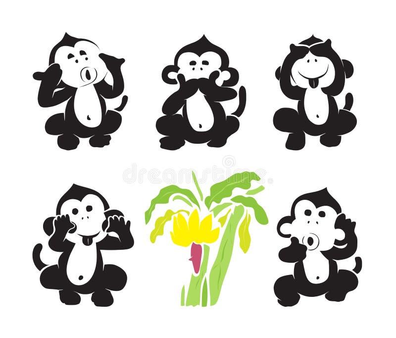 Vector group of monkeys and bananas stock illustration