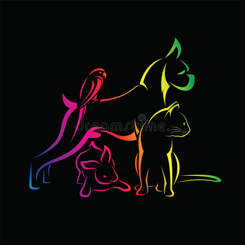 Vector group of pets - Dog, cat, bird, rabbi. Vector group of pets - Dog, cat, bird, rabbit, on black background royalty free illustration