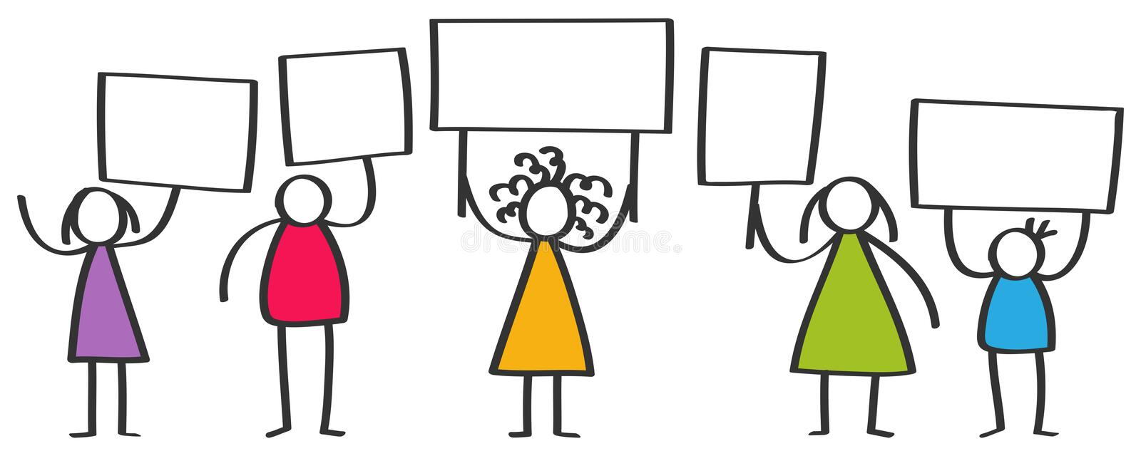 Vector group of protesting colorful stick figures, children, men and women standing and holding up blank boards stock illustration