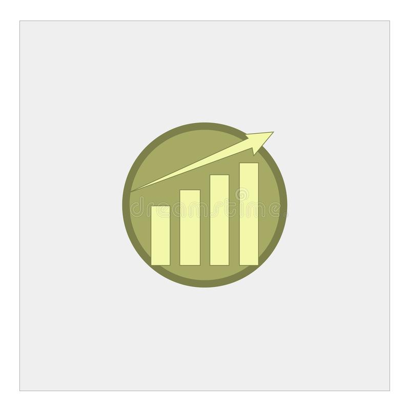 Vector growing up graph icon in circle, isolated on white background vector illustration