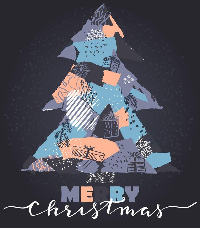 Vector Grußkarte mit Weihnachtsbaum in der Patchworkcollagenart lizenzfreie abbildung