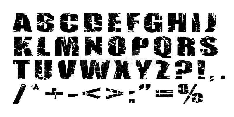 Vector Grunge Alphabet. Black letters on white background - scalable stock illustration