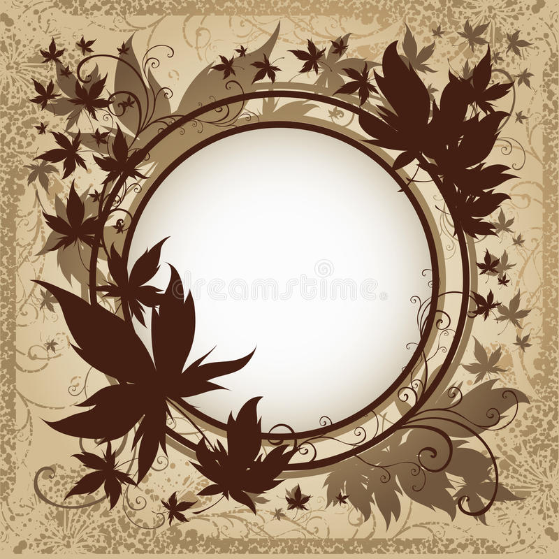 Vector Grunge Background With Autumn Leafs. Royalty Free Stock Photography