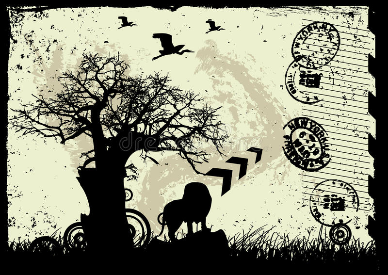 Download Vector Grunge Background With Tree And Animal Stock Vector - Image: 9632923