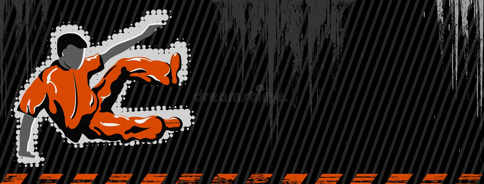 Vector grunge banner with jumping boy royalty free illustration