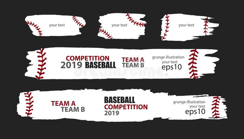 Vector grunge baseball. Templates sporty design. Print for T-shirt, flyer, horizontal abstract banner, brush strip. royalty free stock photo