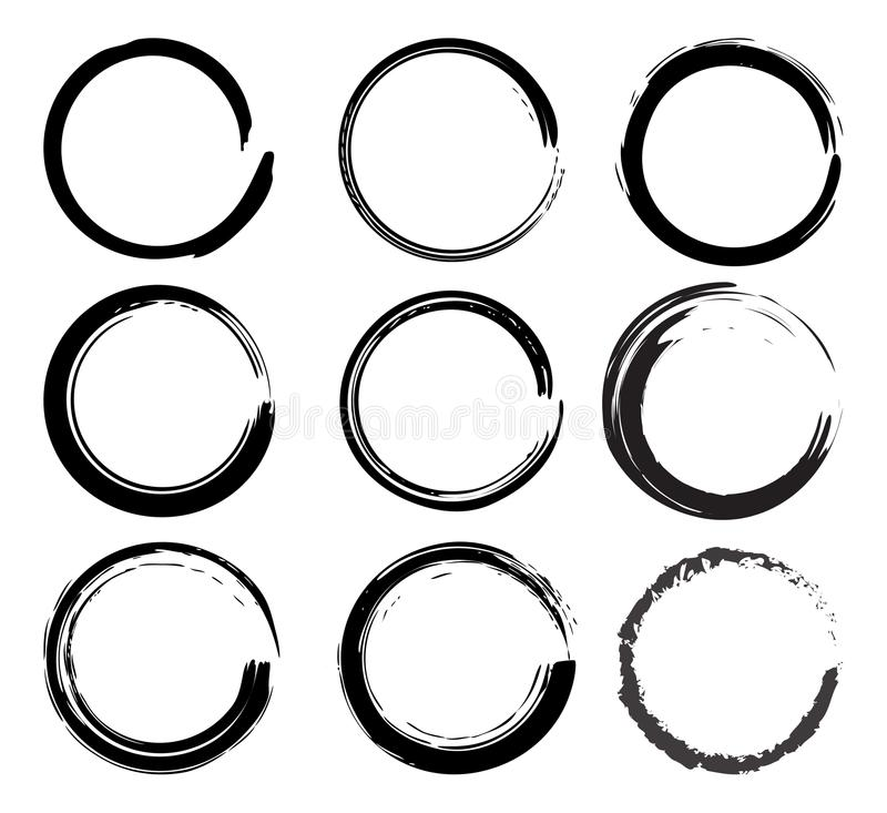 Vector grunge black ink brush Circle border sets royalty free illustration