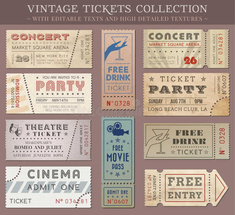 Vector Grunge Cinema tickets. Hi quality vector tickets and coupons. Each ticket is orgenized in layers, separating background from art and text and graphic