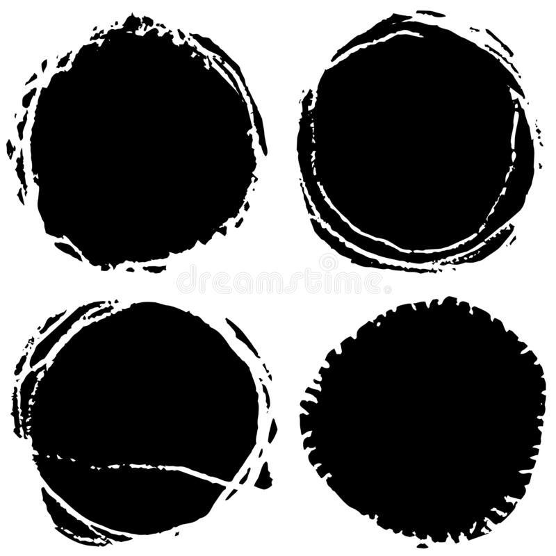 Vector grunge circles. Handmade black round strokes frames. Backgrounds painted by brush. Grunge circles. Handmade black round strokes frames. Backgrounds stock illustration