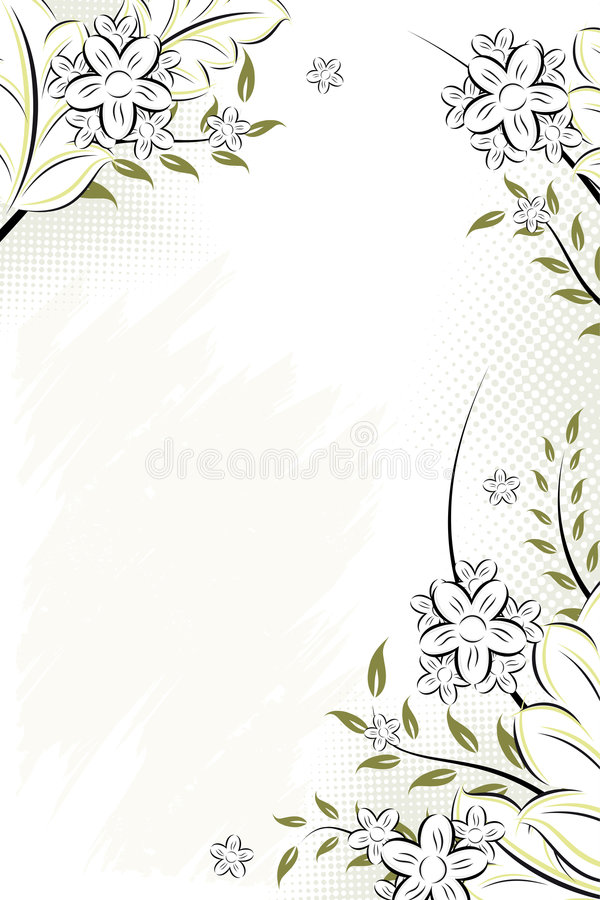 Vector grunge floral background stock photo