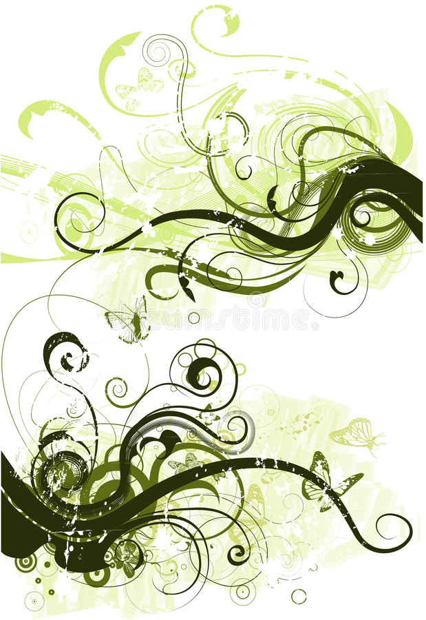 Vector grunge floral elements. Vector swirly grunge background design stock illustration